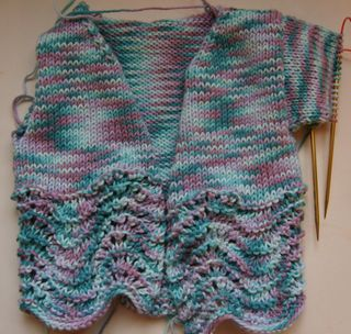 Feather and fan baby cardigan
