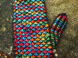 Fiesta mittens close up