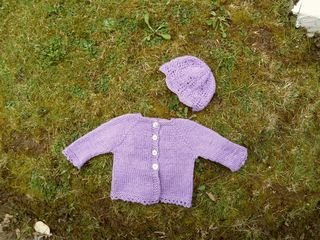 Elsie baby cardigan acalloped lace baby hat